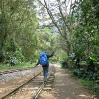 Dani auf den Gleisen nach Aguas Calientes