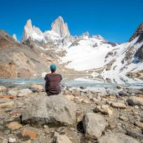 Dani geniesst den Anblick des Fitz Roy Gipfel