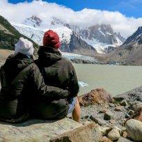 Trotz verhangenem Gipfel des Cerro Torres am geniessen