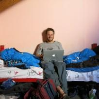 Dani am bloggen im Hostel in El Chaltén