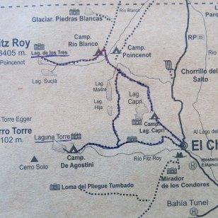 Lageplan von El Chaltén und Umgebung