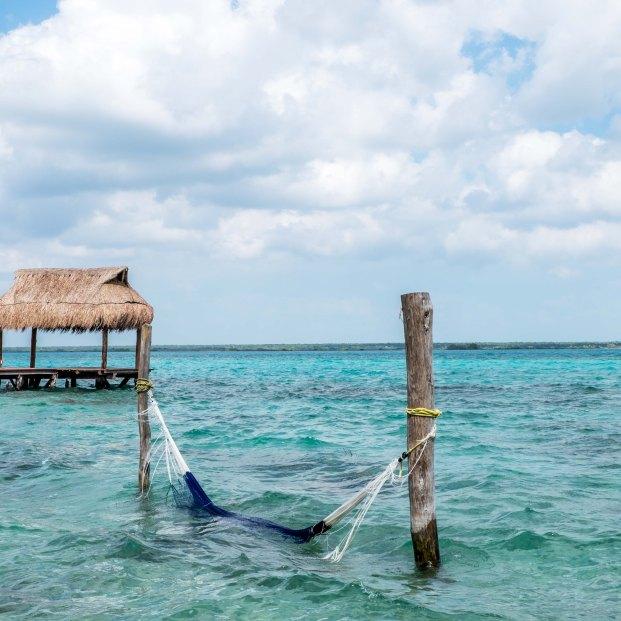 Aussicht vom Hostel am Ufer der Laguna Bacalar