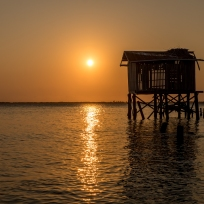 Sonnenuntergang auf Tobacco Caye